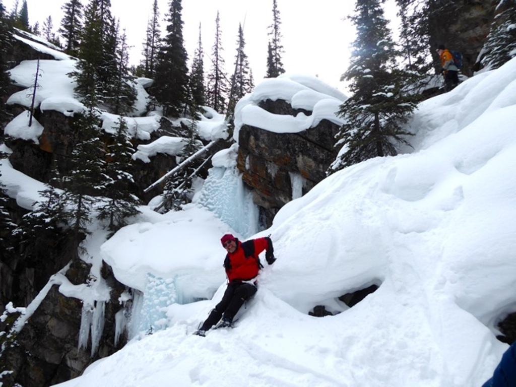 Bill sliding down the falls