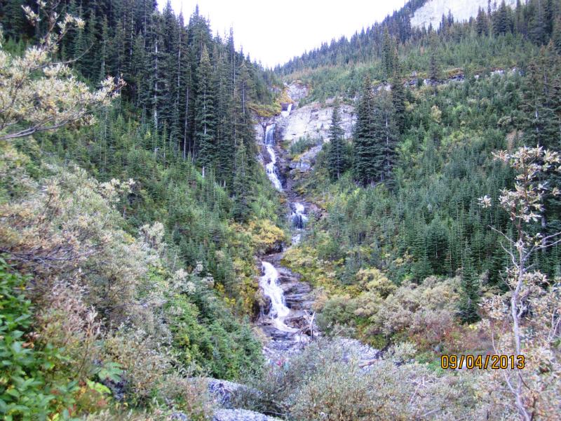Waterfall on trail to Bourgeau Lake