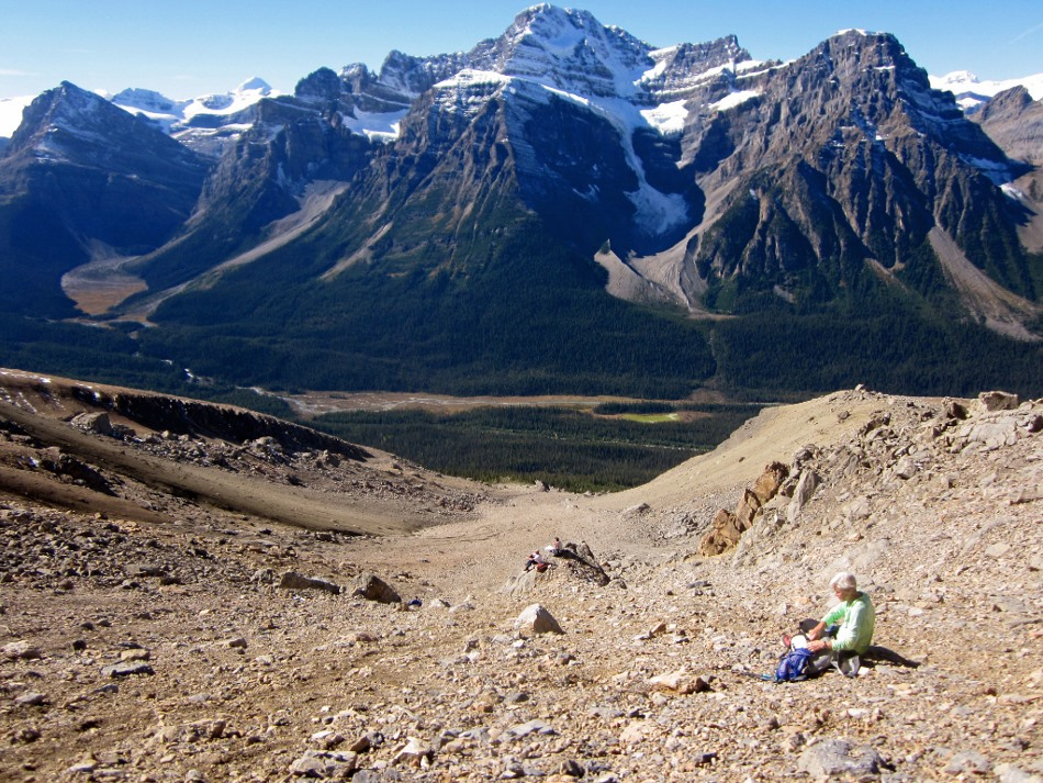 In the very long wide scree gully