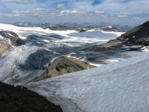 Summit snow with the Waputik Glacier.