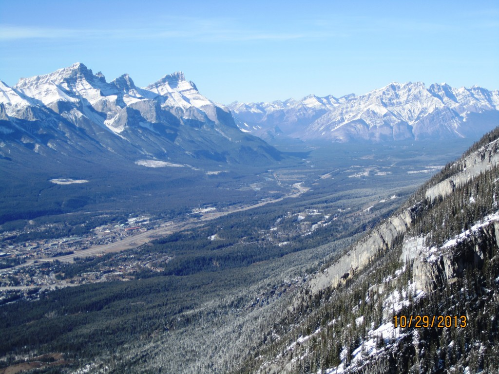 Looking down the Bow valley.Mt Rundle,Cascade and Canmore
