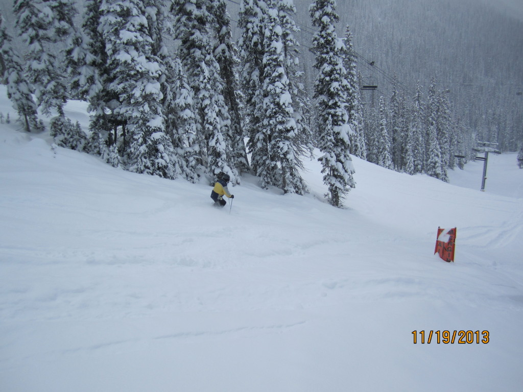 Greg enjoying some powder turns on Goat Chicken,Wolverine