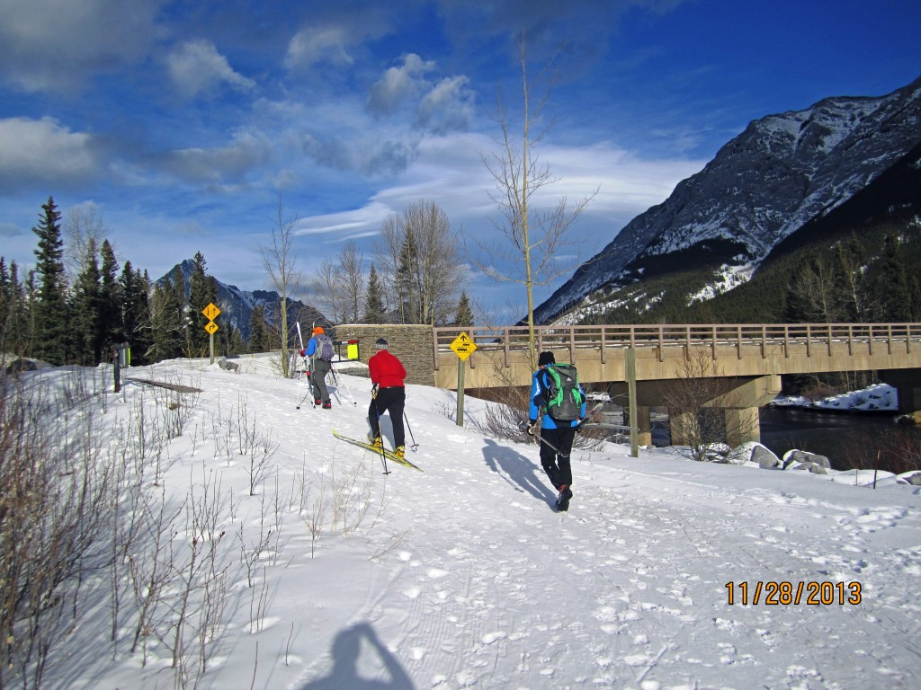 Crossing the Kananaskis River Bridge