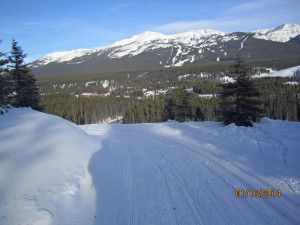 Lower Tram Line Lake Louise. Looking in the Village and ski hill
