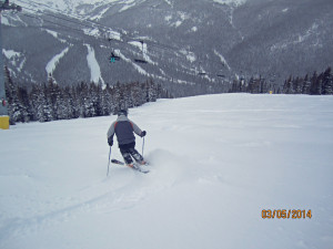 Greg with first tracks on Free Fall
