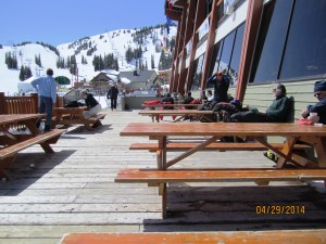Goggle tanning on the Day Lodge Patio