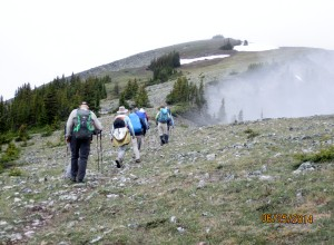Leaving the meadow with the summit in sight