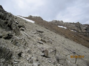 On the way down we came across the red scree then cut back across much dryer