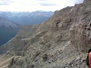 Looking across the rock wall of Rundle #3