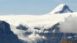 Mt Columbia peaking over Mt Kitchener