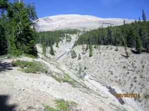 Route follows the Creek. Sunwapta Peak behind
