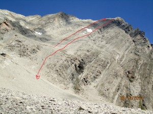 Gusty Peak. Lines of red for ascent & descent