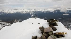 On the summit. Big Beehive below left Lake Louise Ski Hill behind