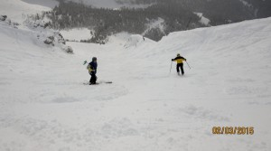 Going down Wildside on the south Chutes