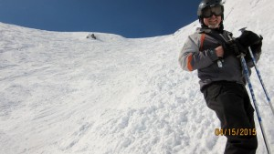 Greg standing in Gully B .Back Bowl Chutes