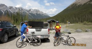 At the Goat Creek trailhead. Spray Lakes Rd
