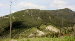 View of Horton Hill. Lusk Creek trail head is bottom left