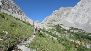 Approaching the Birdwood Lake Col
