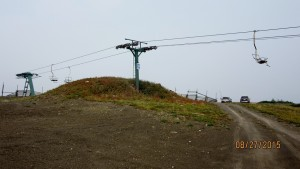 Cars at the top of Farside Chair. Begining of ridge
