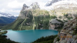 Lake O'Hara with the switchbacks to Lake Osea