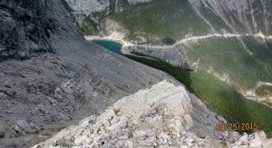 Looking back to the dam above Grassi lakes