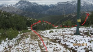 The route back down via the Far side chair