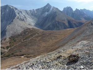 Near the end of Opal Ridge south looking at the col to drop into